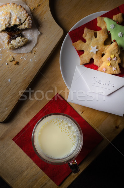 Christmas  Biscuits Milk and Mince Pie for Santa Stock photo © frannyanne