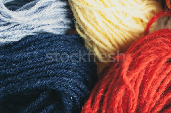 Lana varietà colori blu rosso Foto d'archivio © frannyanne