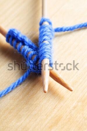 Köt haladás közelkép makró sápadt kék Stock fotó © frannyanne