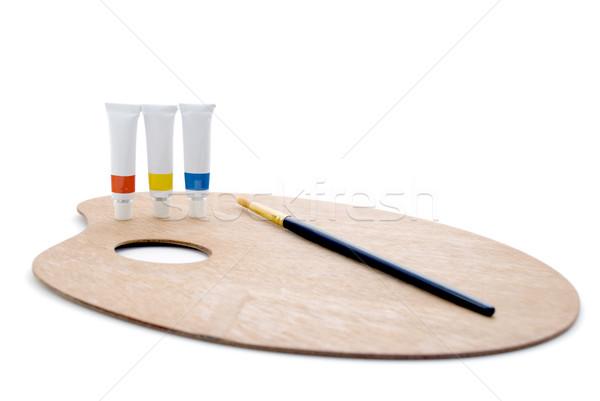 первичный палитра полный три Трубы краской Сток-фото © frannyanne