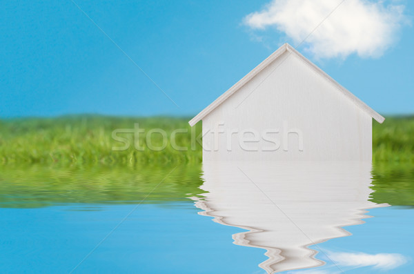 LIttle White Wooden House Sinking into Water Stock photo © frannyanne