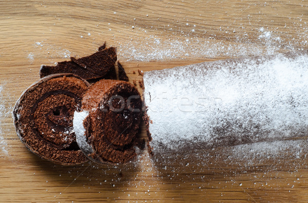 Christmas Chocolate Yule Log Cake from Above Stock photo © frannyanne