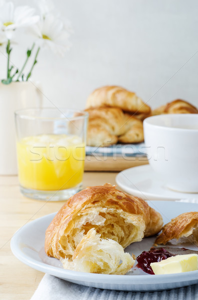 Continental Breakfast with Croissants, Coffee and Orange Juice Stock photo © frannyanne