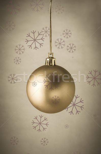 Altın Noel önemsiz şey kar taneleri parşömen gibi Stok fotoğraf © frannyanne