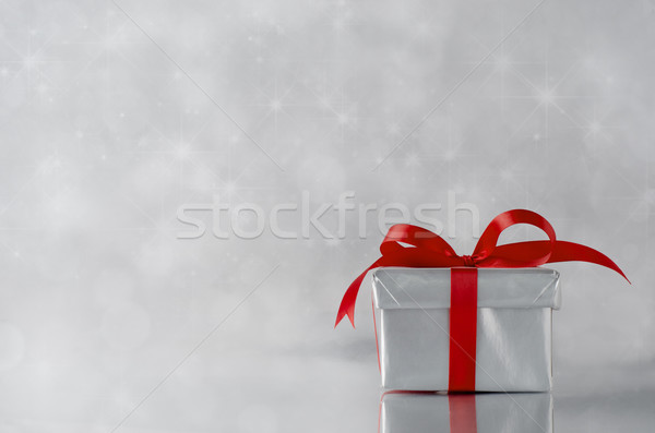 Argento regalo scatola regalo chiuso metallico Foto d'archivio © frannyanne