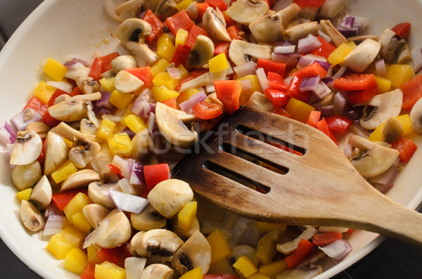 Frying Mixed Vegetables in Ceramic Pan Stock photo © frannyanne