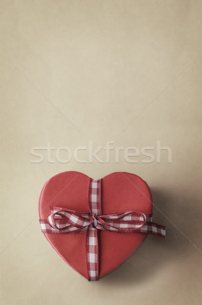 Heart Shaped Gift Box with Gingham Checked Ribbon Stock photo © frannyanne