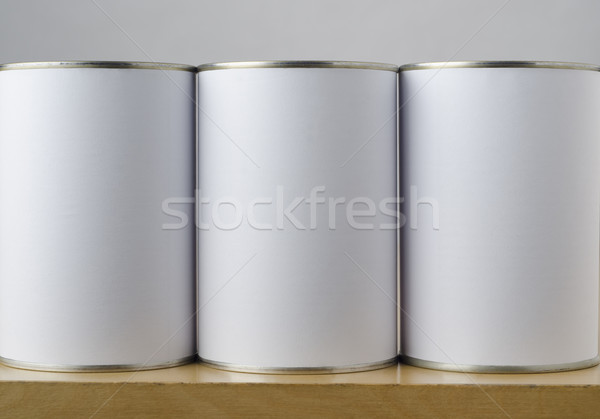 Three Tin Cans with White Labels Stock photo © frannyanne