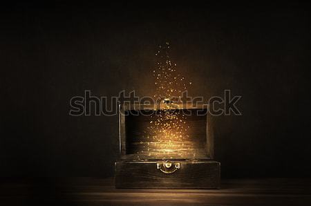 Opened Treasure Chest with Glowing Sparkles and Stars Stock photo © frannyanne