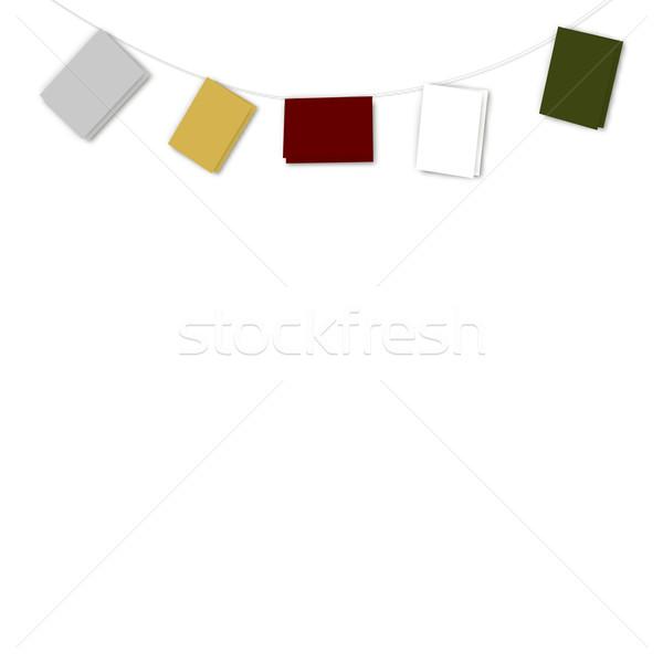 String of Plain Coloured Cards Stock photo © frannyanne