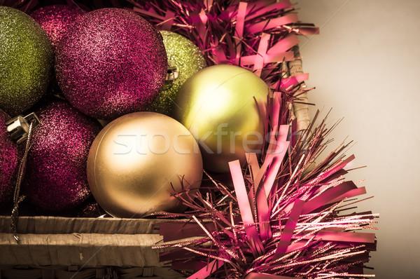 Natale decorazioni stoccaggio basket rosa verde Foto d'archivio © frannyanne