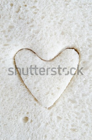 White Bread  with Pink Heart Cut Out Stock photo © frannyanne