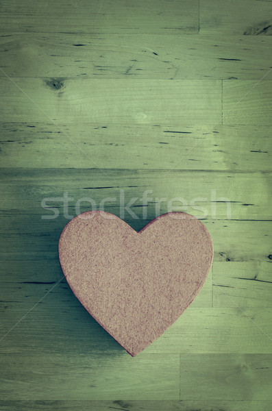 Pink Heart Shaped Box on Wood Plank Table - Cross Processed Stock photo © frannyanne