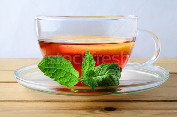Foto d'archivio: Limone · tè · menta · vetro · Cup
