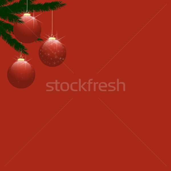 Christmas Tree Baubles on Plain Red Stock photo © frannyanne