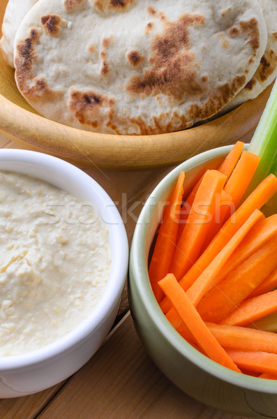 Hummus Dip and Pitta Breads with Crudites Stock photo © frannyanne