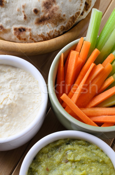 Pitta, Dips and Crudites from Above Stock photo © frannyanne