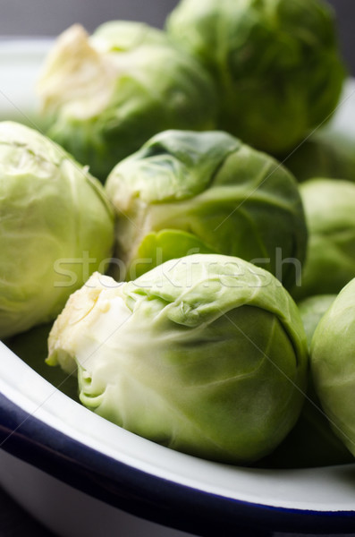 Brussel Sprouts in White Enamel Baking Tin Stock photo © frannyanne
