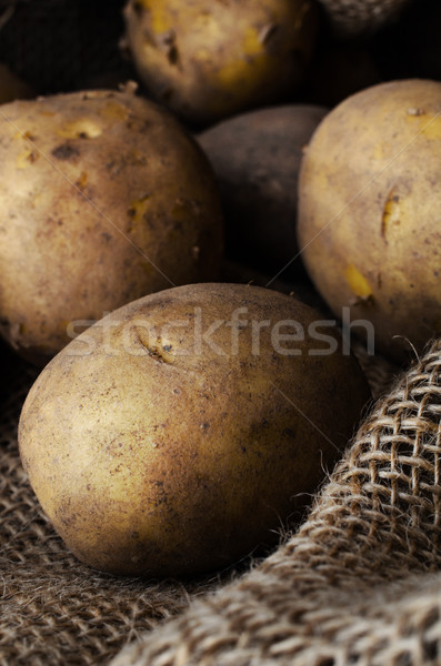 Potatoes in Hessian Sack Close Up Stock photo © frannyanne