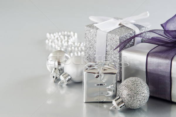 Silver Christmas Gifts Stock photo © frannyanne
