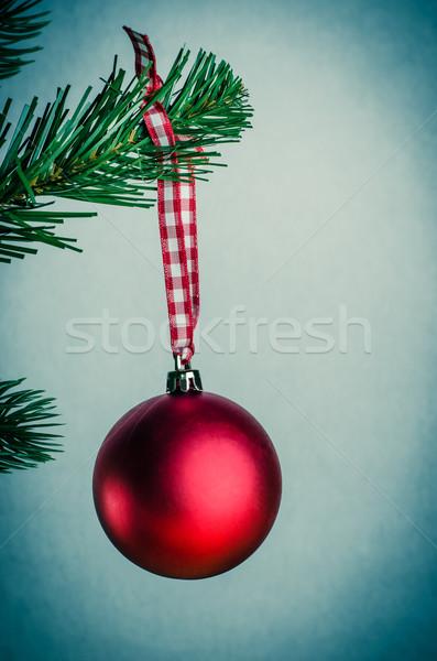 Retro rot Weihnachten Spielerei hängen Weihnachtsbaum Stock foto © frannyanne