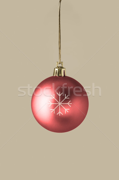 Red Bauble with Glittery Snowflake Stock photo © frannyanne