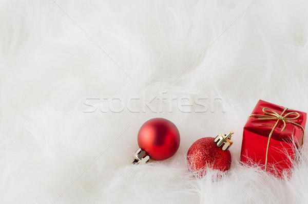 Natale decorazioni bianco pelliccia rosso ornamenti Foto d'archivio © frannyanne