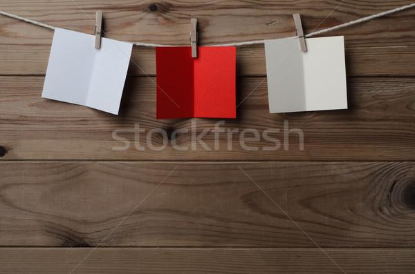 Stockfoto: Drie · kaarten · string · hout
