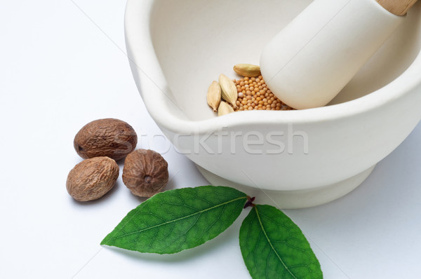 Pestle Mortar Herbs and Spices Stock photo © frannyanne