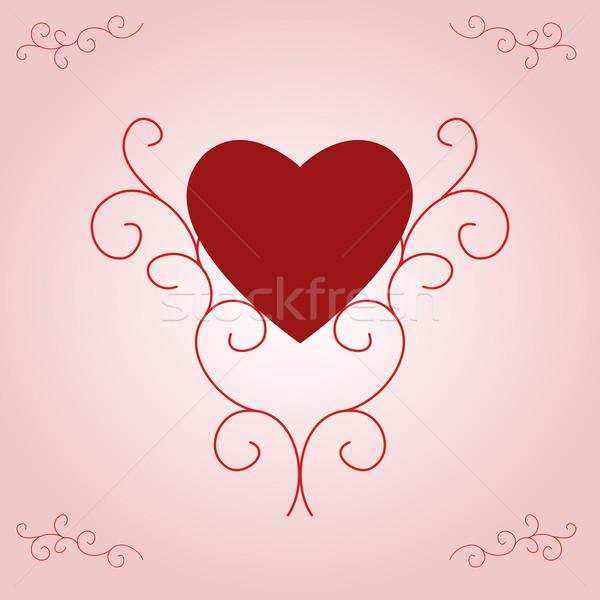 San valentino cuore rosa gradiente illustrazione rosso Foto d'archivio © frannyanne