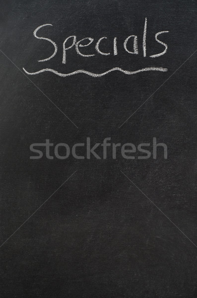 Menu Blackboard Headed with Specials and Underlined in White Cha Stock photo © frannyanne