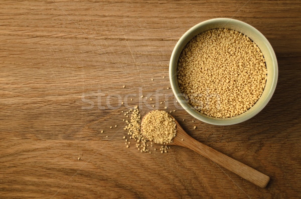 Couscous Bowl and Spoon from Above on Oak Wood Background Stock photo © frannyanne