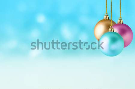 Christmas Baubles on Snowy Background Stock photo © frannyanne