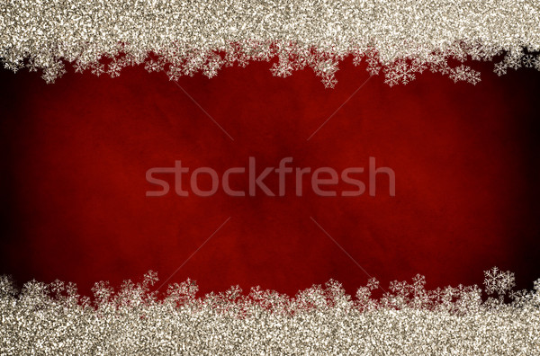 Christmas Glitter Snowflake Border on Red Stock photo © frannyanne