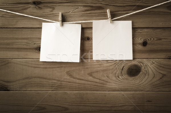 Blank Reminder Notes Pegged on Clothesline Stock photo © frannyanne