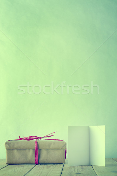 Stock photo: Simple Tied Gift with Blank Open Card