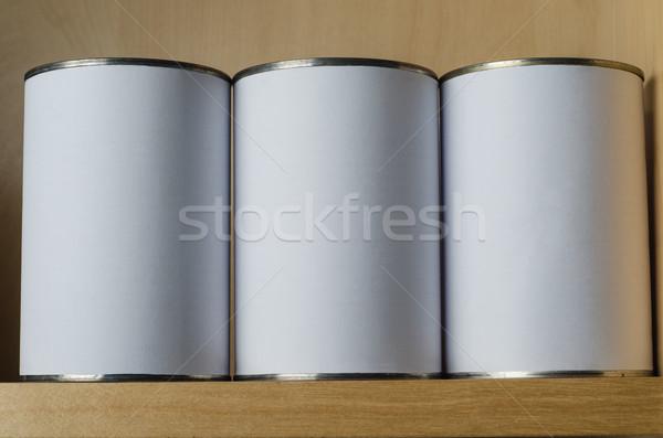 три олово шельфа белый Этикетки Сток-фото © frannyanne
