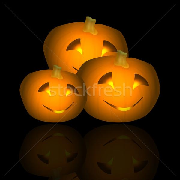 Halloween Pumpkin Trio Reflected Stock photo © frannyanne
