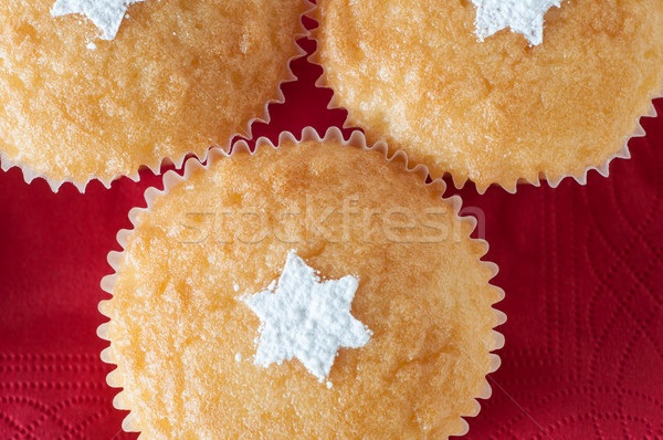 Christmas Vanilla Cupcakes Overhead Stock photo © frannyanne