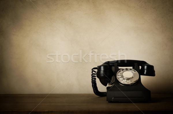 Klasszikus fekete telefon kopott effektek fából készült Stock fotó © frannyanne
