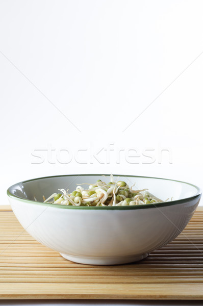 Bowl of  Beansprouts on Bamboo Stock photo © frannyanne