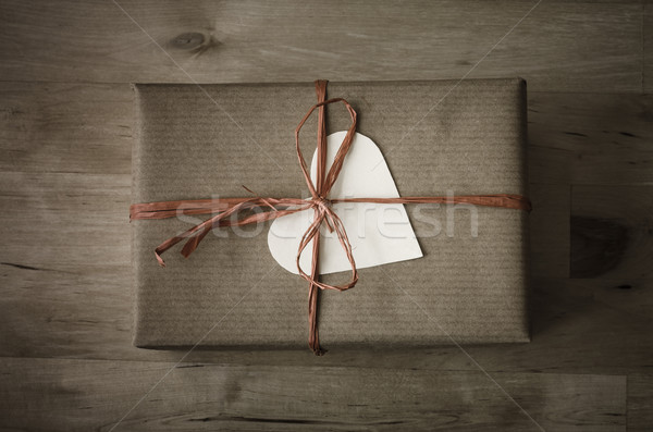 Gift Box with Simple Wrapping and Heart Shaped Label  Stock photo © frannyanne