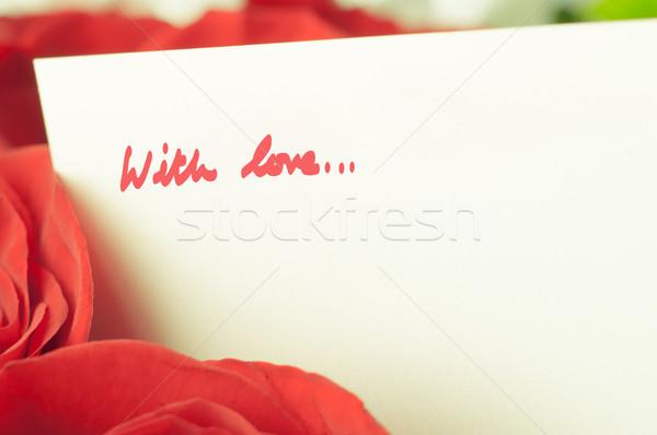 Romantica rose messaggio amore soft focus Foto d'archivio © frannyanne