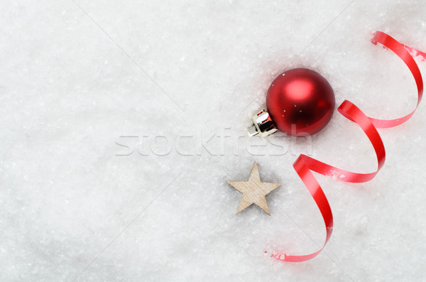 Christmas Snow Background with Red Bauble, Swirl and Star Stock photo © frannyanne
