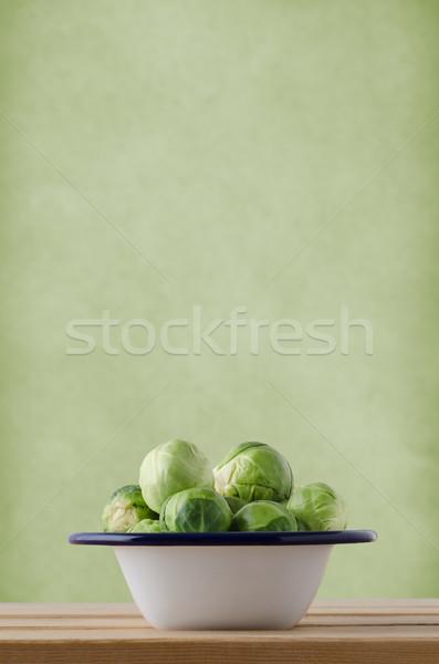 Brüksel emaye pişirme tava kalay ahşap Stok fotoğraf © frannyanne