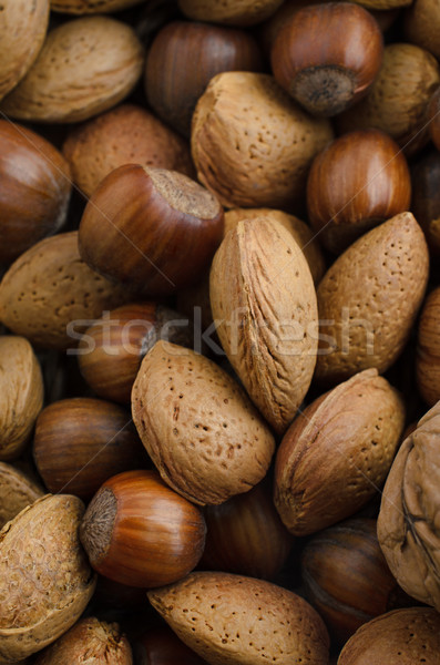 Mixed Selection of Nuts in Shells from Above Stock photo © frannyanne