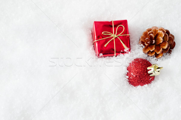 Christmas Decorations in Snow Stock photo © frannyanne