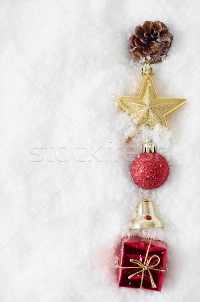 Navidad ornamento frontera nieve desigual vertical Foto stock © frannyanne