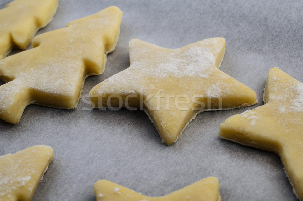 Christmas Biscuit Shapes in Raw Cookie Dough Stock photo © frannyanne