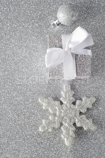 Sparkly Silver Christmas Decorations Stock photo © frannyanne